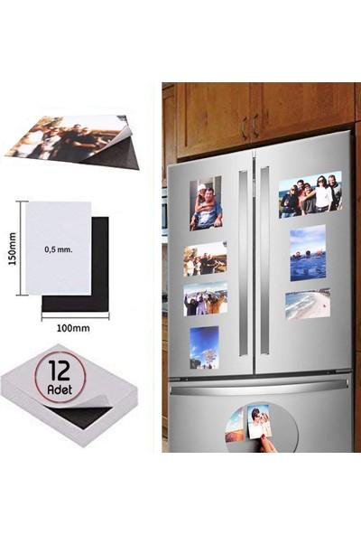 DirektAl 12 Adet 10 x 15 cm Yapışkanlı Mıknatıs Tabaka Fotoğraf Magneti 0,5 mm