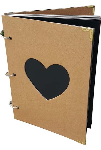 DirektAl Fotoğraf Albümü Kalpli Pencereli Kalın Kapaklı 40 Sayfa