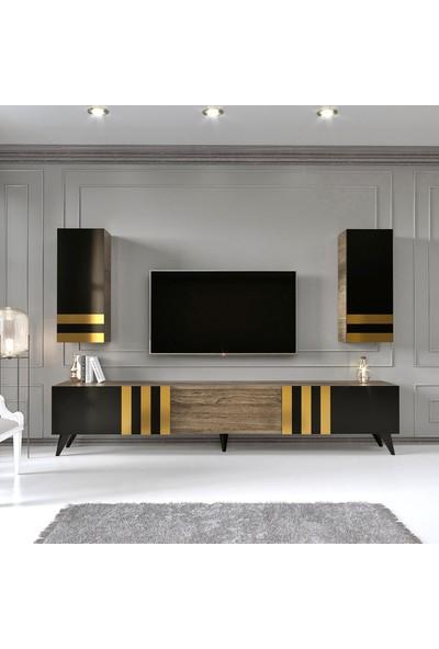 Modatte Mobilya Black Gold Tv Ünitesi Duvar Rafı Kitaplık