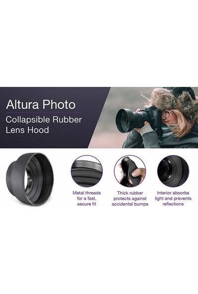 Tianya Nikon D3000 D3100 - 18-55MM Lens Için 52MM 3 Kademeli Kauçuk Parasoley