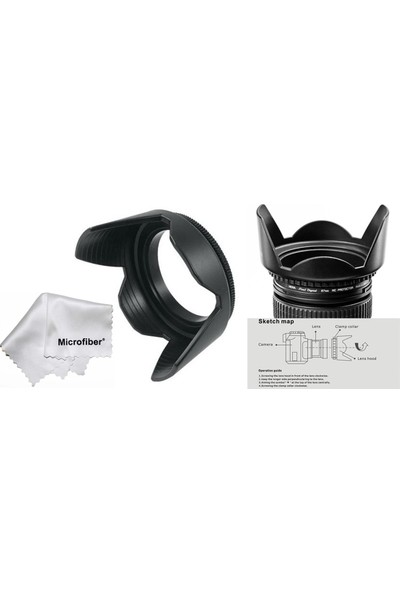 Tianya Nikon D3000 D3100 D3200 - 18-55MM Lens Için 52MM Yaprak Parasoley