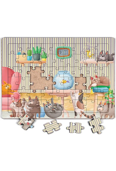 King Of Puzzle Akvaryum ve Kediler Ahşap Puzzle 54 Parça (Lıv-01)