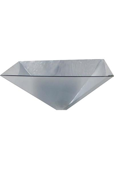 GOB2C Cep Telefonu İçin Piramit Şekilli 3D Hologram Projektör Gümüş