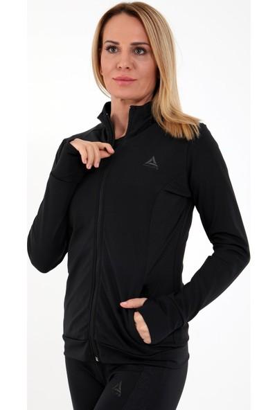 Airlife Kadın Siyah Dik Yaka Fermuarlı Sweatshirt
