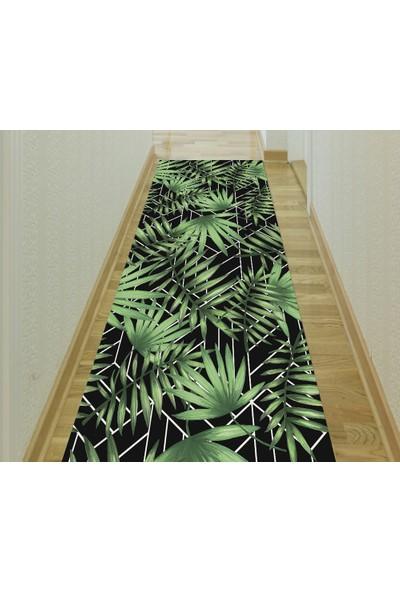Evpanya Mozaik Siyah Üzeri Palmiye Desenli Yolluk