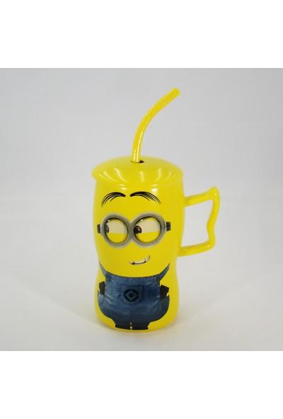 Bihediyecim Pipetli Kapaklı Minion Mug Kupa