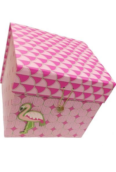 Gıpta Flamenco Flamingo Desenli Hediye Kutusu Küçük