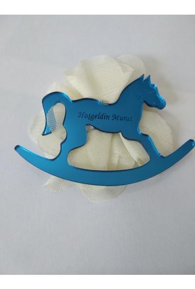 Elizi Mavi Renk Pleksi At Figürlü Magnet (10 Adet)10'Lu