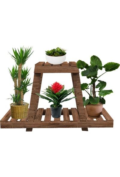 Platin Saksı Standı Çiçeklik Saksılık Bahçe Dekoru Ceviz