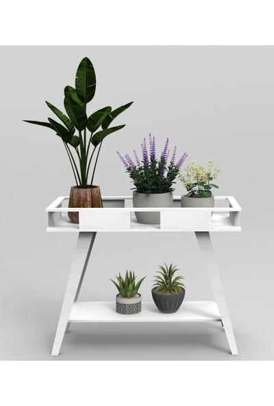 PlatinReyon Dekoratif Mdf Katlanabilir Saksılık Çiçeklik Beyaz