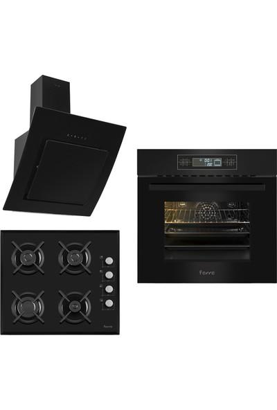 Ferre The Black Begonvil 3'lü Ankastre Set ( 11002 Multifonksiyon Fırın + SIYAH1140 Cam Ocak + S Fmc 600 Siyah Kumandalı Davlumbaz)