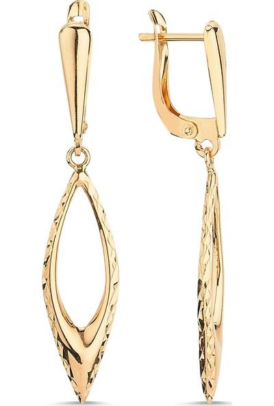 Aypa Mücevher Ag00027Kp-001 Kırmızı Altın Sallantılı Küpe