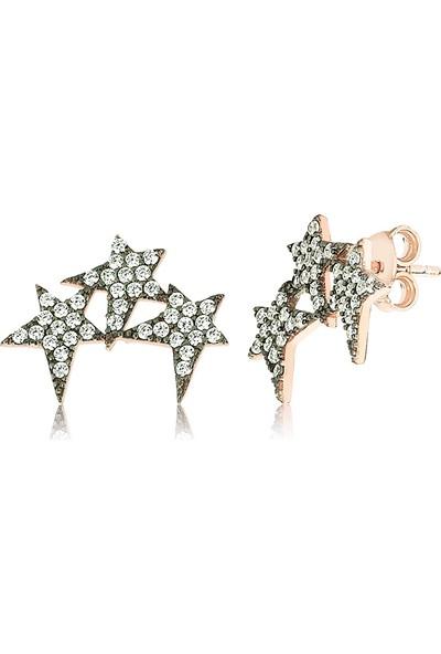 Femmevien Ec401 925 Ayar Gümüş Beyaz Taşlı Yıldız Küpe