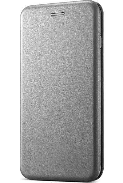 Prolysus Apple iPhone 7 Kılıf Kapaklı Cüzdan Flip Cover Wallet Kılıf Gri