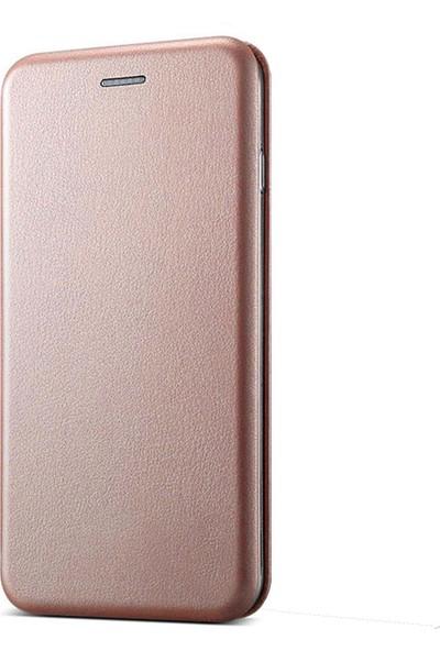 Prolysus Samsung J8 Kılıf Kapaklı Cüzdan Flip Cover Wallet Kılıf Rose Gold