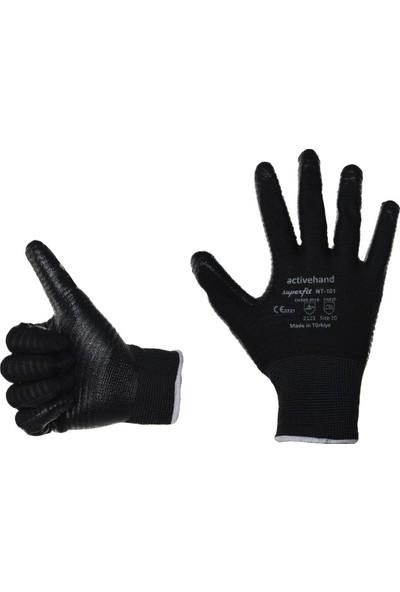 Activehand NT-101 Superfit Nitril Kaplı Eldiven Siyah 9