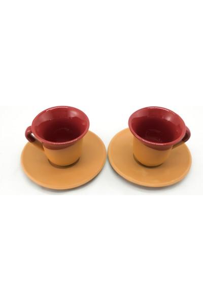 Doğa Çömlekçilik Toprak Kahve Fincanı - Kırmızı 2 'li Set