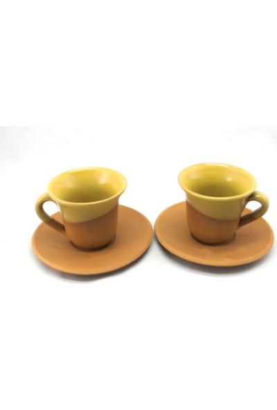 Doğa Çömlekçilik Toprak Kahve Fincanı - Sarı 2'li Set