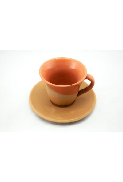 Doğa Çömlekçilik Toprak Kahve Fincanı - Turuncu