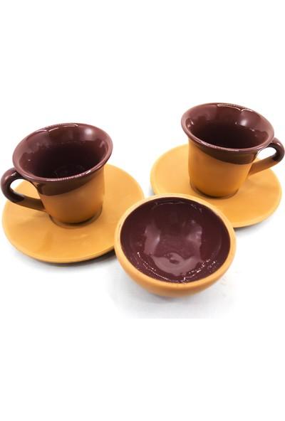 Doğa Çömlekçilik Toprak Kahve Fincanı - Kahverengi 3'lü Set