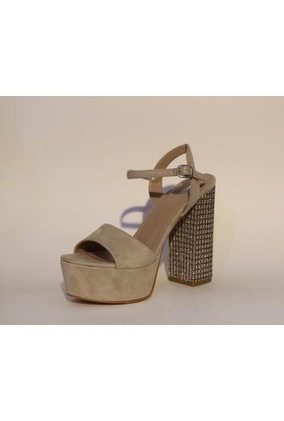 Kriste Bell Platform Kalın Taşlı Topuk Abiye Ayakkabı