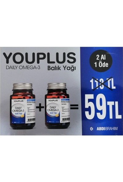 You-Plus Daily Omega 3 30 Kapsül 2'li Paket