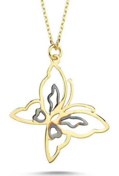 Aypa Mücevher Sarı Altın Kelebek Kolye