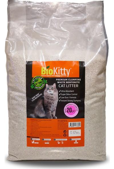 Biokitty Bentonit Ultra Topaklanan Tozsuz Bebek Pudrası Kokulu Kedi Kumu 20 l