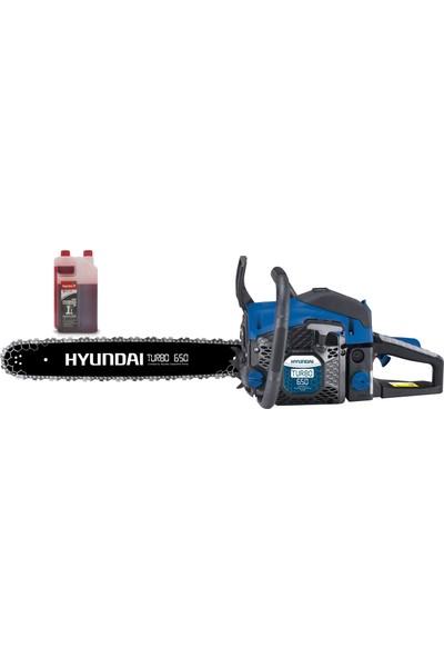 Hyundai Turbo 650 Motorlu Testere Benzinli + Ital 2t 1 lt Motor Yağı
