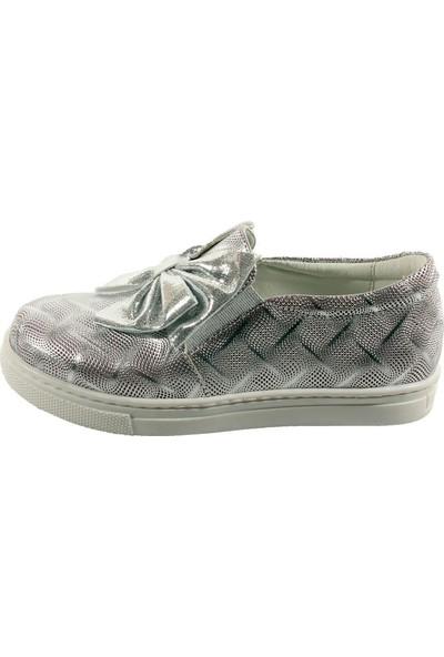 Papşin Club 271-120 Gümüş Baskılı Fiyonklu Kız Çocuk Ayakkabısı
