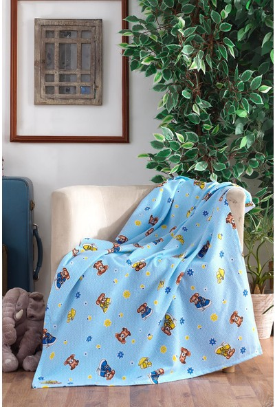 Lady Moda %100 Pamuklu Bebek Battaniyesi Blue Bear