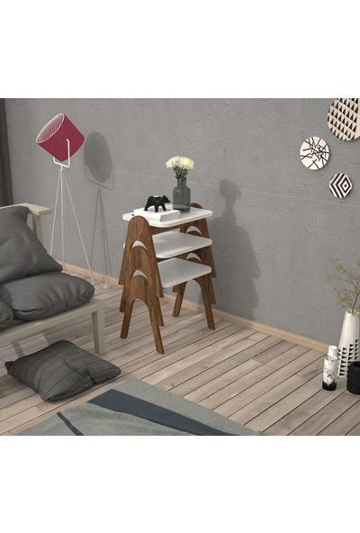 Mbes Mobilya Modern Ceviz-Beyaz Tepsi Zigon Sehpa