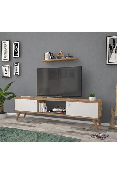 Mbes Mobilya Eda Atlantik-Beyaz 140 cm Tv Ünitesi