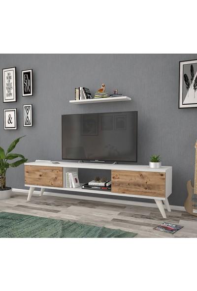 Mbes Mobilya Eda Beyaz-Atlantik 140 cm Tv Ünitesi