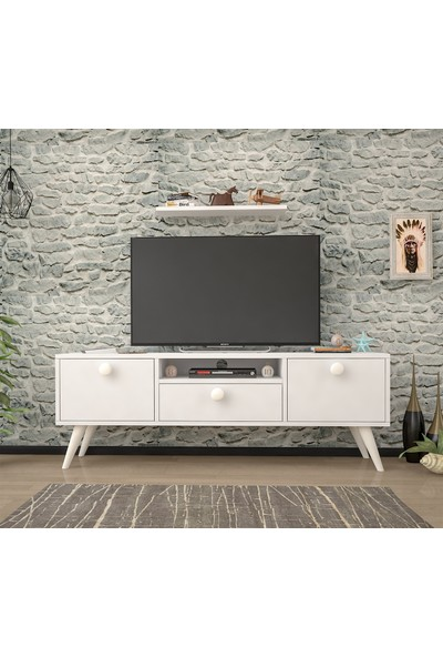 Mbes Mobilya Senta Beyaz 140 cm Tv Ünitesi