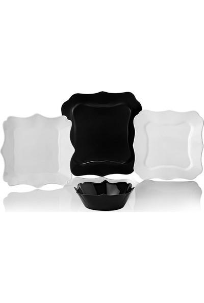 Schafer Berliner Cam Yemek Takımı 24 Parça Siyah Beyaz
