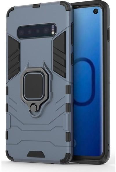 CoverZone Samsung Galaxy J6 Plus Kılıf Shockproof Zırhlı Standlı Yüzük Tutuculu Kılıf Koyu Gri + Temperli Ekran Koruma + Dokunmatik Kalem
