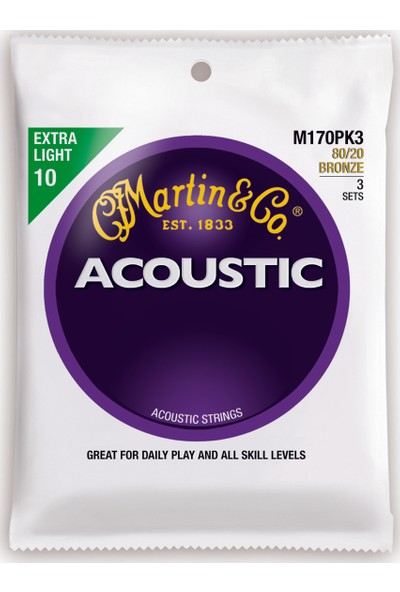 Martin & Co M170PK3 - 80/20 Bronze (Extra Light) 10-47 Akustik Gitar Teli - 3 Set