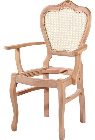 Mobilya Baba Hasırlı Kollu Klasik Oymalı Sandalye Cilasız Ahşap