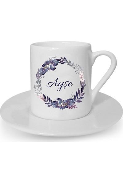 Mutlu Mutfak Atölye Kişiye Özel Tasarım Türk Kahvesi Fincanı Çiçek Motifli