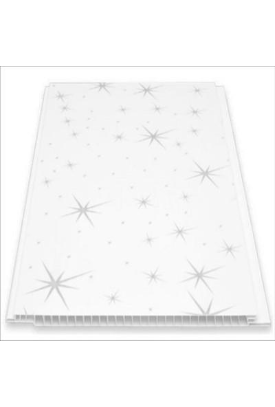 Büker Plastik Gri Yıldızlı Plastik Pvc Duvar Tavan Lambiri 10'lu