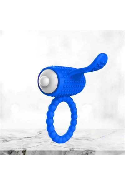Dr. Love Silikon Güçlü Titreşimli Klitoral Uyarıcılı Penis Halkası Yüzüğü Mavi + Kayganlaştırıcı