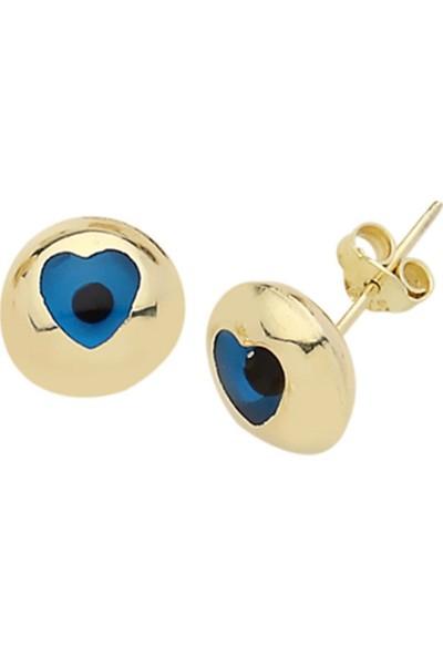 Besay Egz011 Kalp Göz Boncuklu Altın Küpe