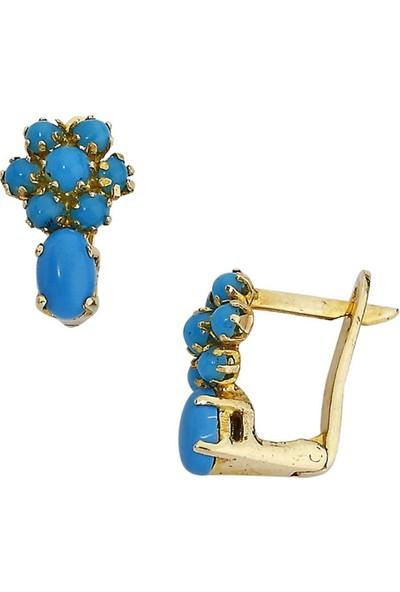 Besay Eht012 Mavi Çiçek Figürlü Hastaş Altın Küpe