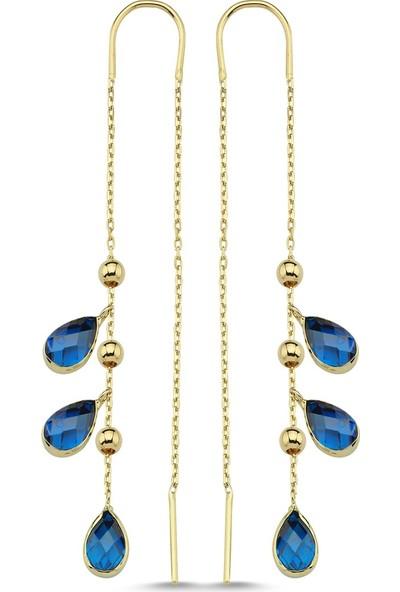 Yekbun Ttgkpatk115 Mavi Taşlı Altın Küpe