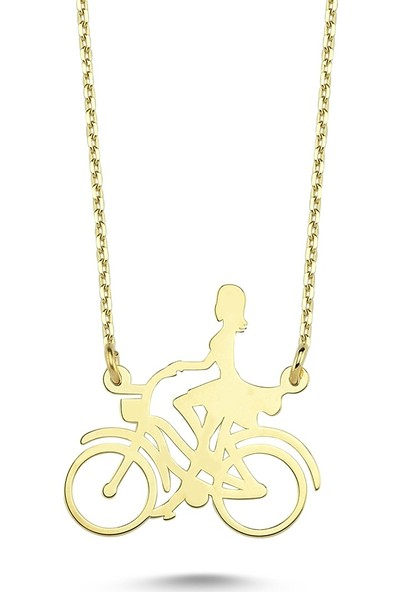 Yekbun Bisikletli Kız Altın Kolye