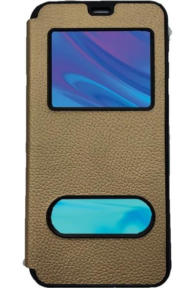 Prolyus Huawei Honor 9 Lite Kılıf Pencereli Kapaklı Kılıf Altın