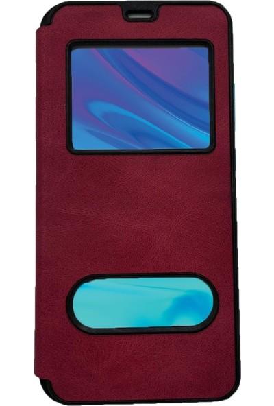Prolyus Huawei P20 Pro Kılıf Pencereli Kapaklı Kılıf Pembe