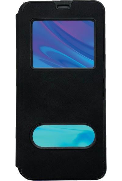 Prolysus Samsung Galaxy M20 Kılıf Pencereli Kapaklı Kılıf Siyah