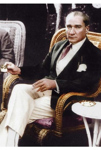 Tablosan Atatürk Türk Kahvesi İçerken Kanvas Tablo